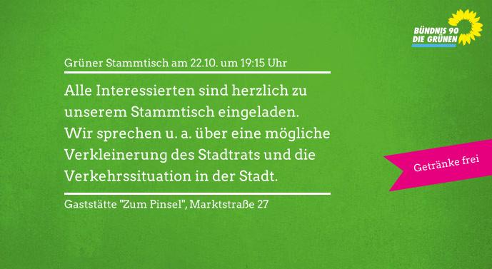 Einladung zum Grünen Stammtisch am 22.10.
