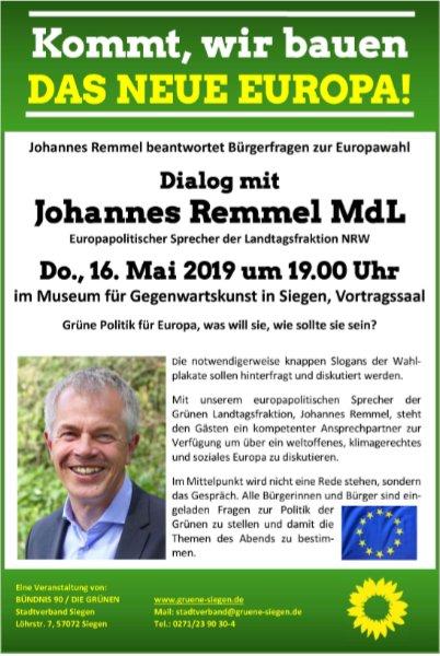 Johannes Remmel MdL beantwortet Bürger-Fragen zur Europawahl