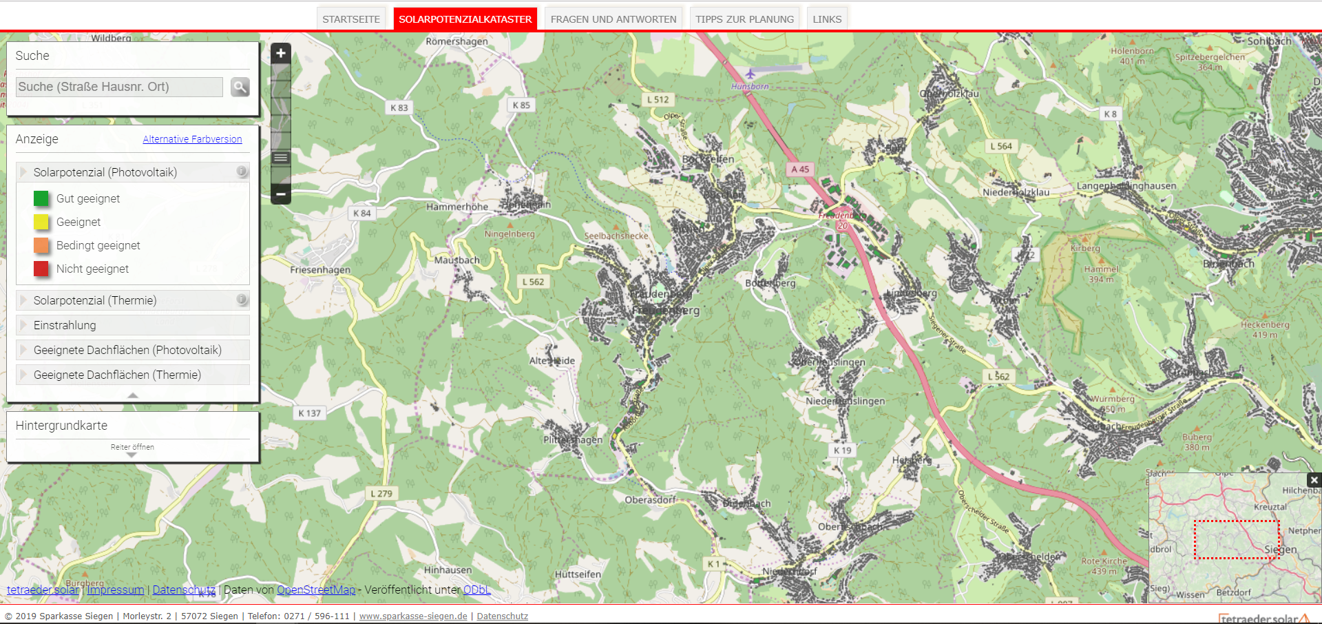 Einbindung des Solarkatasters NRW in den Internet-Auftritt der Stadt Freudenberg