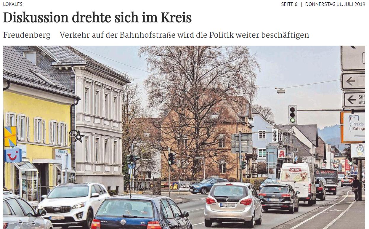 Verkehr auf der Bahnhofstraße wird die Politik weiter beschäftigen