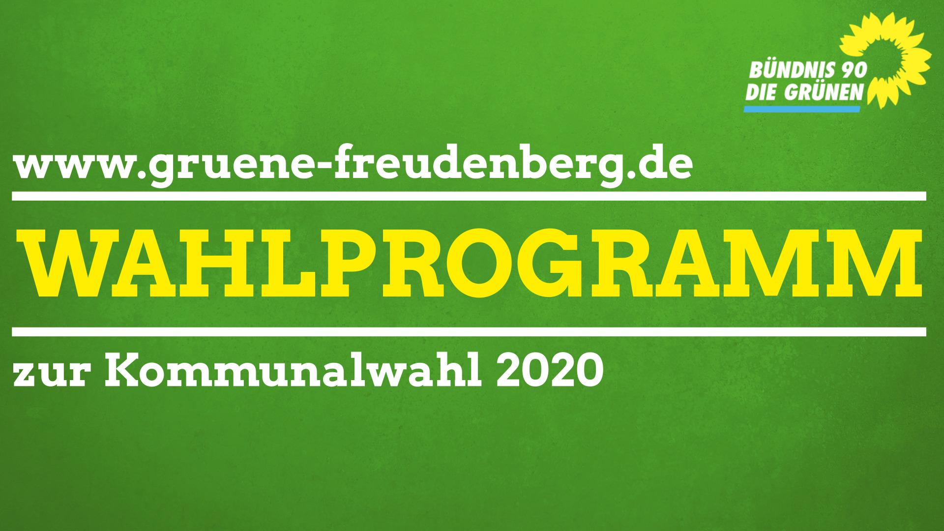 Wahlprogramm der Freudenberger Bündnis-Grünen zur Kommunalwahl 2020